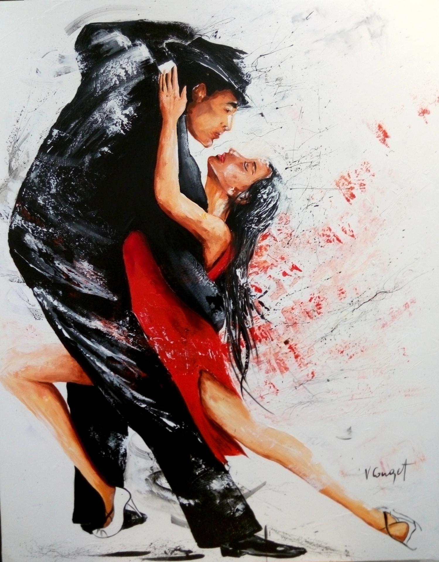 tango Acrylique 92x73 avec sa caisse américaine noire 990e
